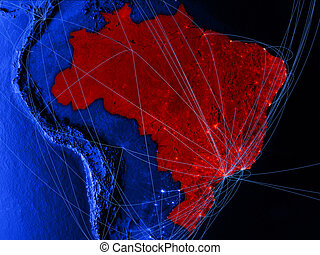 Brazil on blue blue digital map