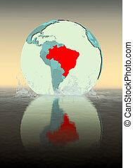 Brazil on globe splashing in water