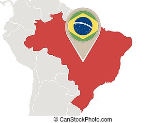 Brazil highlighted world map stock photo images 235 brazil brazil on world map map with highlighted brazil map and gumiabroncs Choice Image