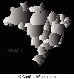 Brazil outline map on a black background