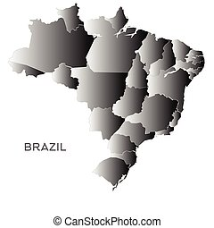 Brazil outline map on a white background