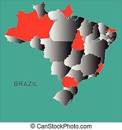 Brazil outline map on blue background