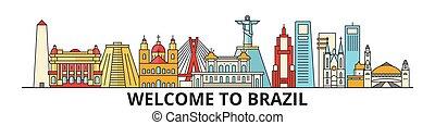Brazil outline skyline, brazilian flat thin line icons, landmarks, illustrations. Brazil cityscape, brazilian travel city vector banner. Urban silhouette