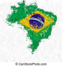 Brazil Painted Flag Map - A digitally enhanced image of the...