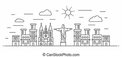 Brazil panorama, line style