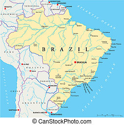 Brazil Political Map - Political map of Brazil with capital...