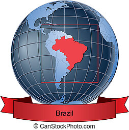 Brazil, position on the globe Vector version with separate ...