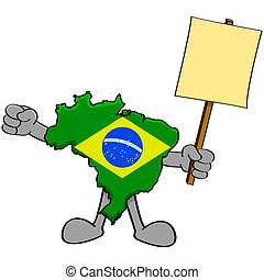Brazil protest - Concept illustration showing a map of...