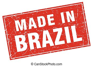 Brazil red square grunge made in stamp