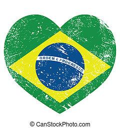 Brazil retro heart shaped flag