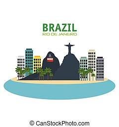brazil rio de janeiro touristics places design vector...