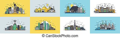 Brazil Russian France, Japan, India, Egypt China USA architecture buildings town city country travel icon linear style