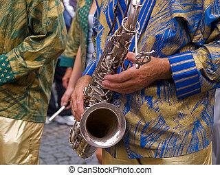 Brazil Samba carnival saxophone player