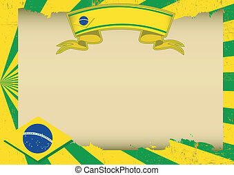 Brazil scratched horizontal background - A vintage brazilian...