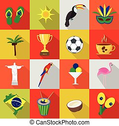 Brazil. Set of cartoon flat icons.