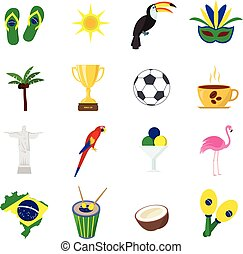 Brazil. Set of cartoon flat icons.