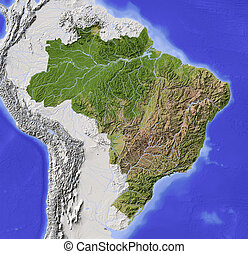 Brazil, shaded relief map - Brazil. Shaded relief map with...