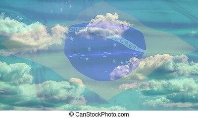 Brazil Sky Flag - Waving flag of Brazil, green blue white...