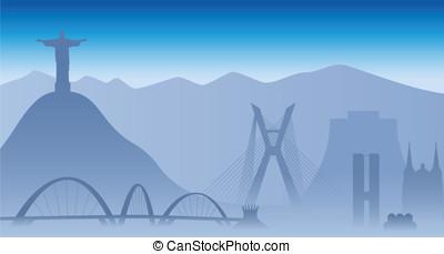 Brazil skyline, vector illustration