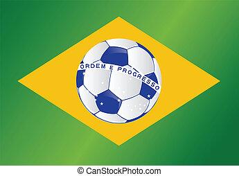 brazil soccer ball flag illustration design