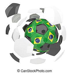 Brazil soccer ball on white background