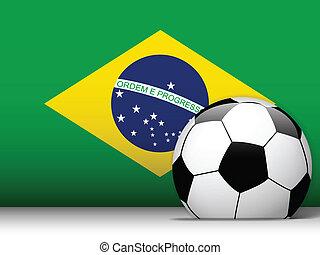 Brazil Soccer Ball with Flag Background