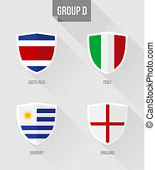 Brazil Soccer Championship 2014 Group D flags
