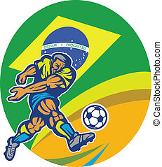 Illustration of a Brazil football player kicking soccer ball with Brazilian flag in background with numbers 2014 done in retro style.