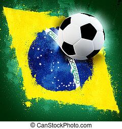 Brazil soccer - Soccer ball on Brazil grunge painted flag