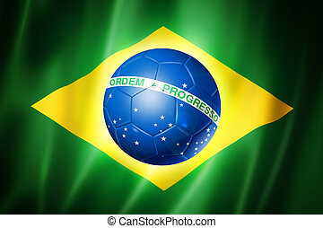 Brazil world cup 2014 symbol, soccer ball on brazilian flag