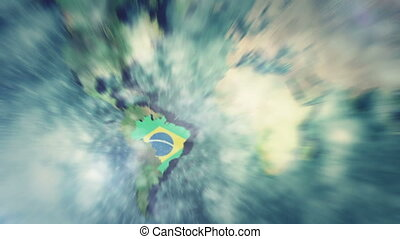Zoom into a 3D World Map to Brazil with all the Brazilian States popping up
