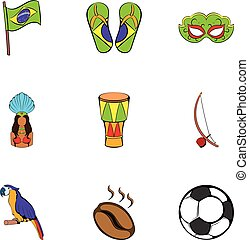 Brazil statue icons set, cartoon style
