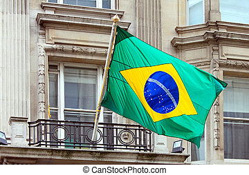 Brazil - National Brazil flag at building