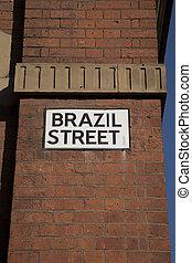 Brazil Street Sign, Manchester, England, UK