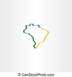 brazil stylized map vector icon