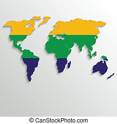 Brazil Summer World Map Background - vector illustration