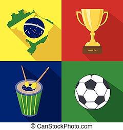 Brazil. Sun. Drum. Cup. Soccer. Summer time. Cartoon set icons.