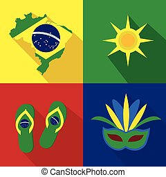 Brazil. Sun. Slippers. Mask. Summer time. Cartoon set of icons.