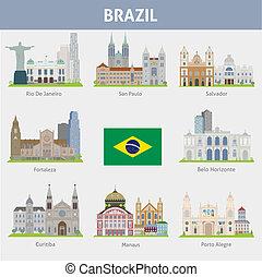 brazil., symboles, de, villes