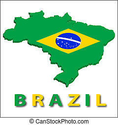 Brazil territory with flag texture. Illustration. EPS10