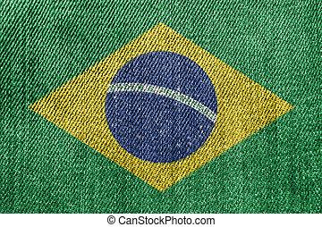 Brazil Textile Industry Or Politics Concept: Brazilian Flag Denim Jeans