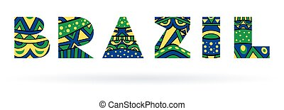 Brazil Title - Brazil single word. Title with abstract...