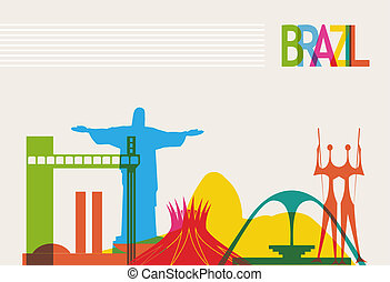 Brazil tourism skyline - Diversity monuments of Brazil,...