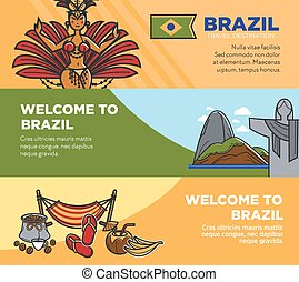 Brazil tourism travel landmarks and famous sightseeing attractions vector welcome banners