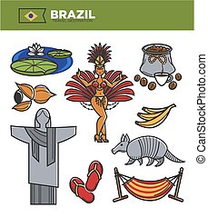 Brazil tourism travel landmarks and famous sightseeing vector icons set