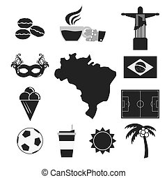 Brazil Tourist Attraction Black Symbol Icons Set.
