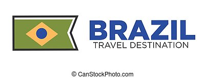 Brazil travel destination emblem - Vector illustration of...