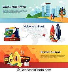 Brazil Travel Flat Horizontal Banners Set
