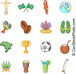 Brazil travel icons set, cartoon style