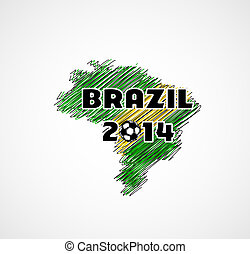 Brazil vector illustration, map with soccer ball  easy all editable